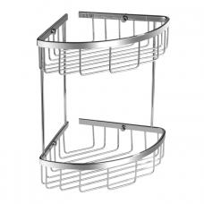 Omnires Uni kampinė dviaukštė dušo lentynėlė, chromas