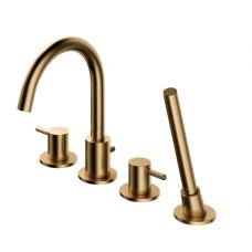 Omnires Y 4 dalių vonios maišytuvas montuojamas į vonios kraštą, braižyto aukso spalvos