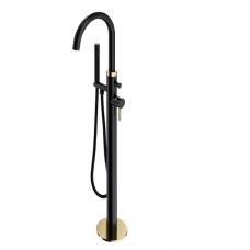 Omnires Y vonios maišytuvas montuojamas ant grindų, auksas/juoda