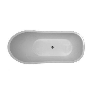 Omnires Marble+ Venezia lieto akmens vonia, 160 x 73 cm, juoda/balta spalva 2