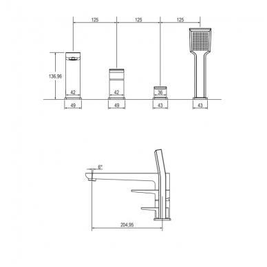 Omnires Parma vonios maištuvas montuojamas į vonios kraštą, chromas 2