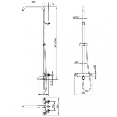 Omnires Y termostatinė vonios/dušo sistema, juodos spalvos 2
