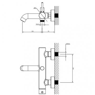 Omnires Y vonios maišytuvas su dušo komplektu, juodos spalvos 2