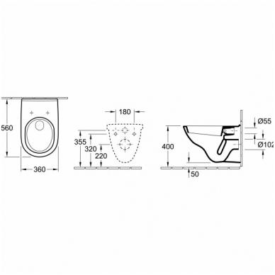 Villeroy & Boch O.Novo pakabinamas WC su lėtai nusileidžiančiu dangčiu, baltas 2