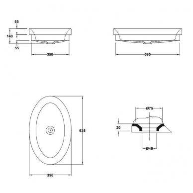 Gala Ovalo pastatomas arba dalinai įleidžiamas praustuvas, be perlajos, baltas 3