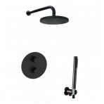 Paffoni Light potinkinė termostatinė dušo sistema, juoda spalva