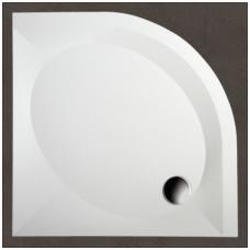 PAA Art RO pusapvalis akmens masės dušo padėklas, su kojomis ir uždanga, baltas