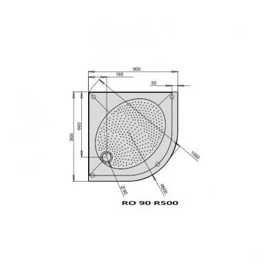 PAA Art RO pusapvalis akmens masės dušo padėklas, su kojomis ir uždanga, baltas 2