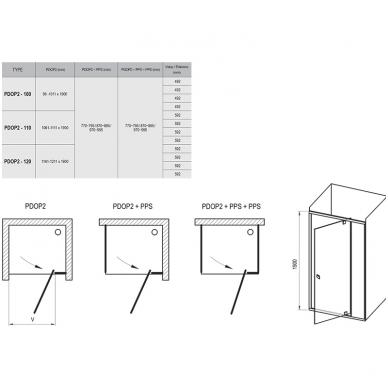 Ravak Pivot PDOP2 dušo durys, 100cm, profilis baltas, stiklas skaidrus 2