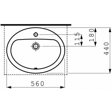 Laufen Pro B įleidžiamas praustuvas 56 x 44cm, baltas 2