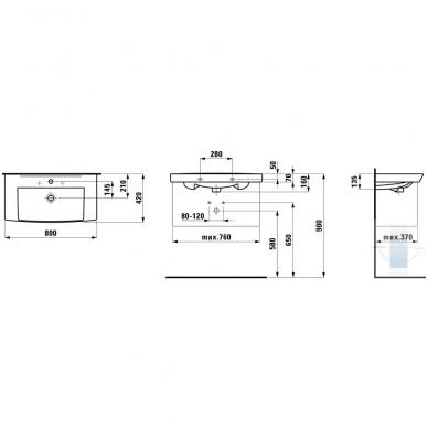 Laufen Pro Nordic baldinis praustuvas, 80 x 42, baltas 2