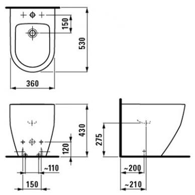 Laufen Pro pastatoma bidė, 53 x 36, balta 2