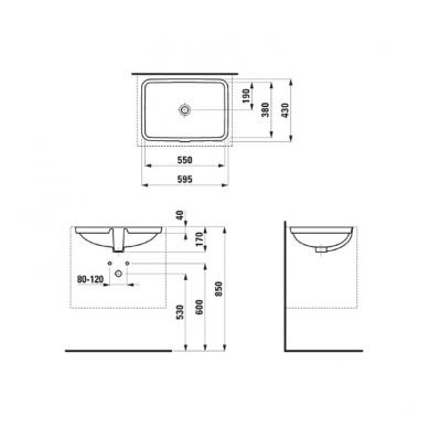 Laufen Pro S iš apačios įmontuojamas praustuvas, 55 x 38cm, baltas 2