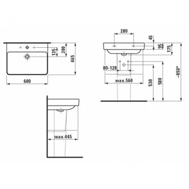 Laufen Pro S pakabinamas praustuvas, 60 x 46.5, baltas 2