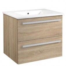 Raguvos baldai Serena spintelė su praustuvu, 60 cm, balta/juodas ąžuolas/pilkas ąžuolas