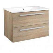 Raguvos baldai Serena spintelė su praustuvu, 75 cm, balta/juodas ąžuolas/pilkas ąžuolas