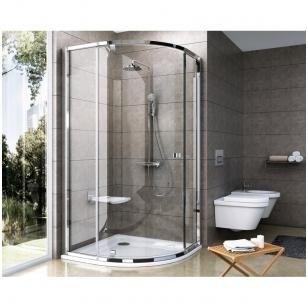Ravak Pivot PSKK3 pusapvalė dušo kabina, varstomos durys, stiklas skaidrus
