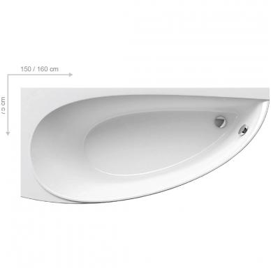 Ravak Avocado akrilinė, asimetrinė vonia, balta 3