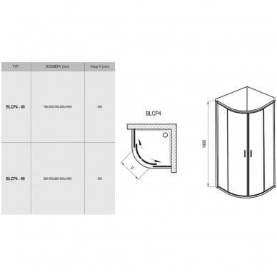 Ravak Blix BLCP4 pusapvalė dušo kabina, 80 x 80, baltas profilis, skaidrus stiklas 2