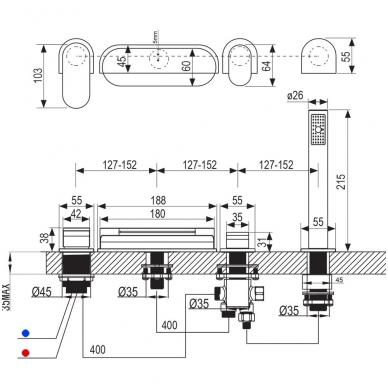 Ravak Chrome CR 025.00 vonios maišytuvas montuojamas į kraštą, chromas 4