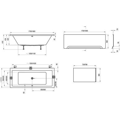 Ravak Formy 01 akrilinė vonia, balta 4