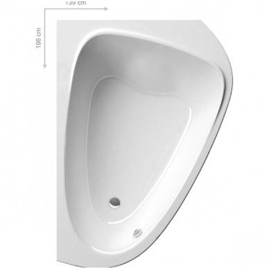 Ravak LoveStory II akrilinė asimetrinė dvivietė vonia, kairės pusės, 196 x 113,5 - 139 cm, balta 3