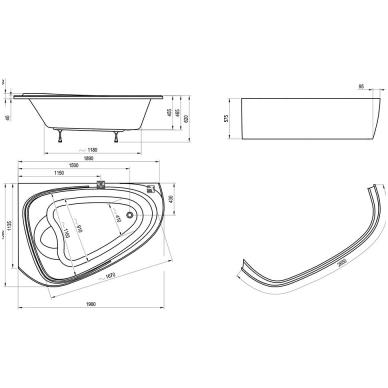 Ravak LoveStory II akrilinė asimetrinė dvivietė vonia, kairės pusės, 196 x 113,5 - 139 cm, balta 4
