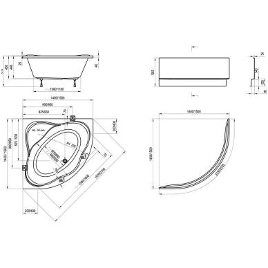 Ravak NewDay akrilinė kampinė vonia, 140 x 140, balta 4