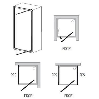 Ravak Pivot PDOP1 dušo durys, 90cm, stiklas skaidrus Transparent, profilis baltas/baltas 3