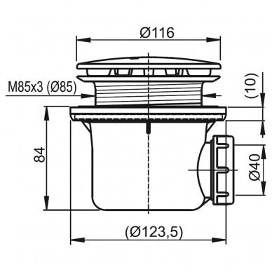 Ravak Professional 90 dušo padėklo sifonas su metaliniu chromuotu dangteliu 2