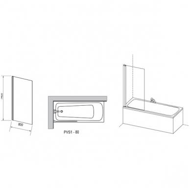 Ravak PVS1 stacionari vonios sienelė, 80 x 140 2