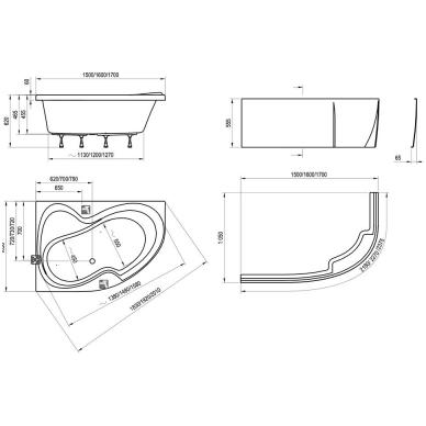 Ravak Rosa II akrilinė, asimetrinė vonia, balta 4