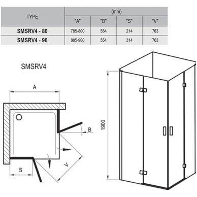 Ravak SmartLine kvadratinė dušo kabina, vyriai chromuoti, stiklas skaidrus 2