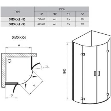 Ravak SmartLine pusapvalė dušo kabina, vyriai chromuoti, stiklas skaidrus 3