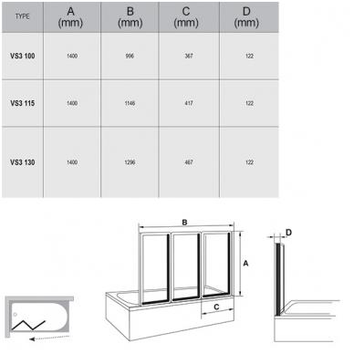 Ravak VS3 vonios sienelė, trijų dalių, 100cm, 115cm,130cm 2