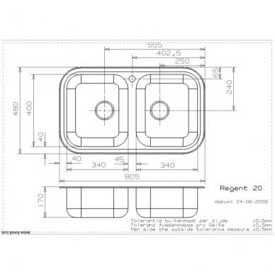Reginox Regent 20 Lux virtuvinė plautuvė, nerūdijančio plieno 2