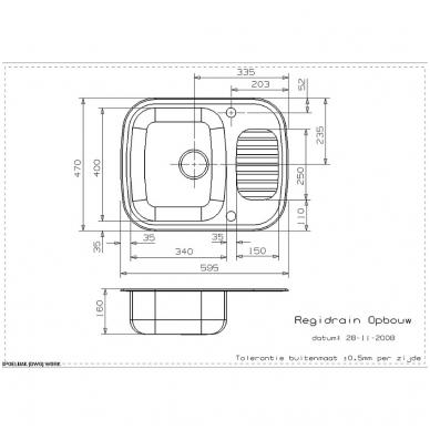Reginox Regidrain R virtuvinė plautuvė, 59,5 x 47, nerūdijančio plieno 2