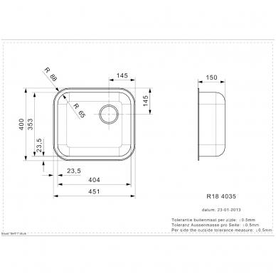 Reginox 4035 OKG virtuvinė plautuvė, 45 x 40 cm, nerūdijančio plieno 2