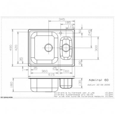 Reginox Admiral R60 virtuvinė plautuvė, 61.5 x 49 cm, nerūdijančio plieno 2
