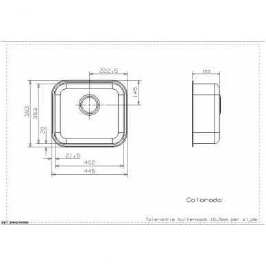 Reginox Colorado L OKG virtuvinė plautuvė, 45 x 40 cm, nerūdijančio plieno 2