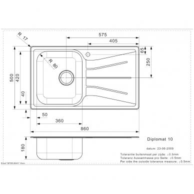 Reginox Diplomat 10 virtuvinė plautuvė, 86 x 50cm, nerūdijančio plieno 2