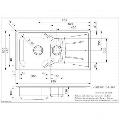 Reginox Diplomat 1.5 virtuvinė plautuvė, 95 x 50 cm, nerūdijančio plieno 2