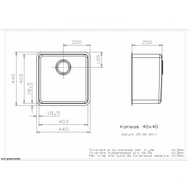 Reginox Kansas L virtuvinė plautuvė, 44 x 44 cm, nerūdijančio plieno 2