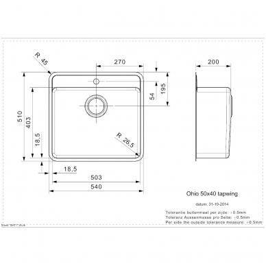 Reginox Ohio L Tapwing virtuvinė plautuvė, 54 x 51 cm, nerūdijančio plieno 2