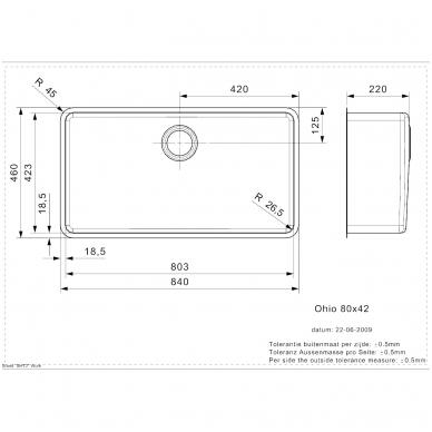 Reginox  Ohio L virtuvinė plautuvė, 84 x 46 cm, nerūdijančio plieno 2