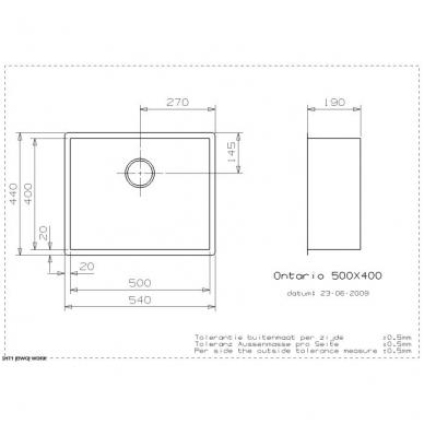 Reginox Ontario L virtuvinė plautuvė, 54 x 44 cm, nerūdijančio plieno 2