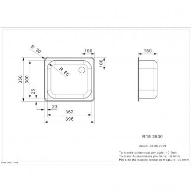 Reginox R18 3530 OSK virtuvnė plautuvė, 40 x 35cm, nerūdijančio plieno 2