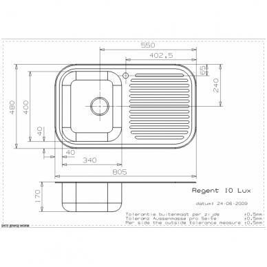 Reginox Regent 10 LUX virtuvinė plautuvė, 80.5 x 48 cm, nerūdijančio plieno 2