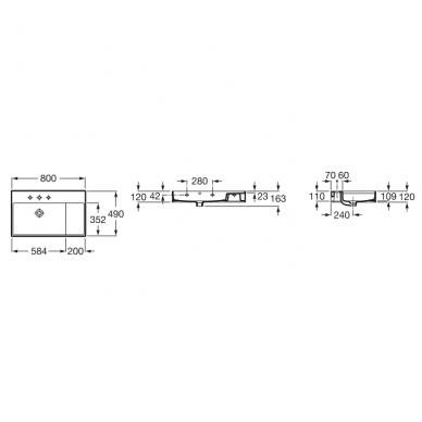 Roca Inspira SQ baldinis, asimetrinis praustuvas, dubuo kairėje, 80 x 49, baltas 2