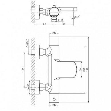 Sapho Kimura termostatinis maišytuvas su Mist dušo stovu, chromas 5